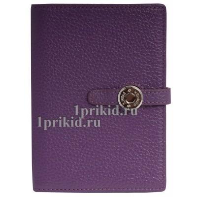 Обложка HERMES для документов натуральная кожа цвет фиолетовый 10x14см/0520