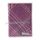 Обложка на паспорт натуральная кожа цвет фиолетовый 10x14см/2441