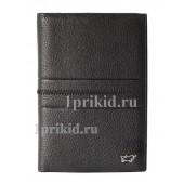 Обложка на паспорт натуральная кожа цвет чёрный 10x14см/4993