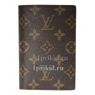 Обложка на паспорт LOUIS VUITTON натуральная кожа цвет коричневый 10x14см/1986