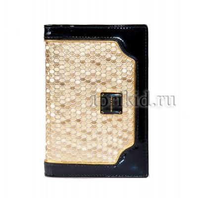 Обложка для паспорта натуральная кожа 10x14см/768453 цвет золотой