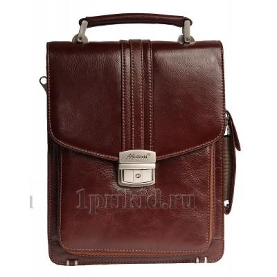 Планшет сумка ALBATROSS натуральная кожа цвет коричневый 21x10x26см/53331