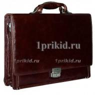 Портфель натуральная кожа 39x9x29см/1988 цвет коричневый