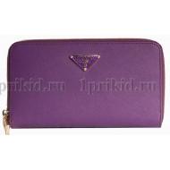 PRADA(Прада) Кошелек женский фиолетовый натуральная кожа 19x2x10см/67014