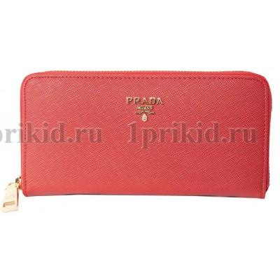 PRADA(Прада) кошелек женский красный натуральная кожа 19x2x10см/89457