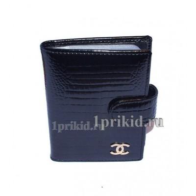 Визитница Chanel натуральная кожа цвет чёрный 8x10см/0199