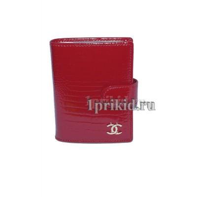 Визитница Chanel натуральная кожа цвет красный 8x10см/0197