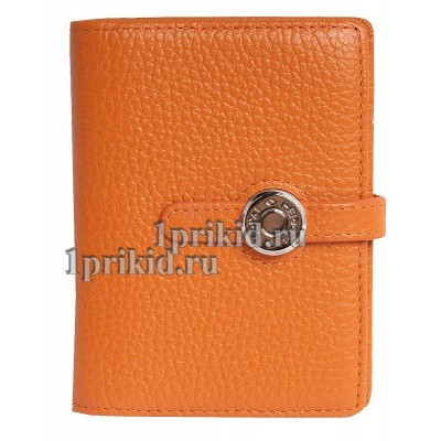 Визитница HERMES натуральная кожа цвет оранжевый 8x10см/0518