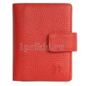 Визитница Hermes натуральная кожа цвет красный 8x10см/7016