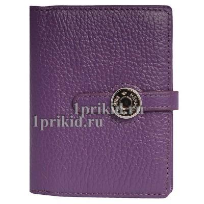 Визитница HERMES натуральная кожа цвет фиолетовый 8x10xсм/8704