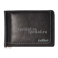 Зажим для денег Cosset натуральная кожа цвет чёрный 11x8см/8016