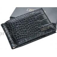 Зажим ZILLI (Зилли) для денег натуральная кожа цвет чёрный 11x7см/65093