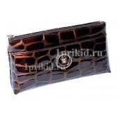 Женская косметичка Wanlima натуральная кожа цвет коричневый 19x12см/0777