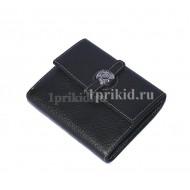 Женский кошелёк Hermes женский чёрный натуральная кожа 10x11см/03313