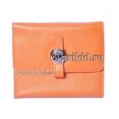 Женский кошелёк Hermes женский оранжевый натуральная кожа 10x11см/03319