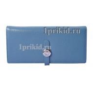 Женский кошелёк Hermes женский синий натуральная кожа 19x9см/0911