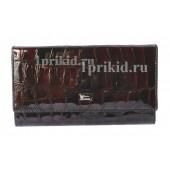 Женский кошелёк WANLIMA женский чёрный натуральная кожа 19x10см/0721